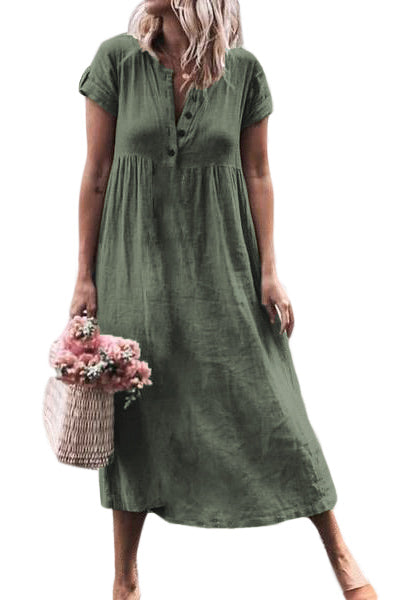 Green Solid Button Deep V-Neck Casual Dress