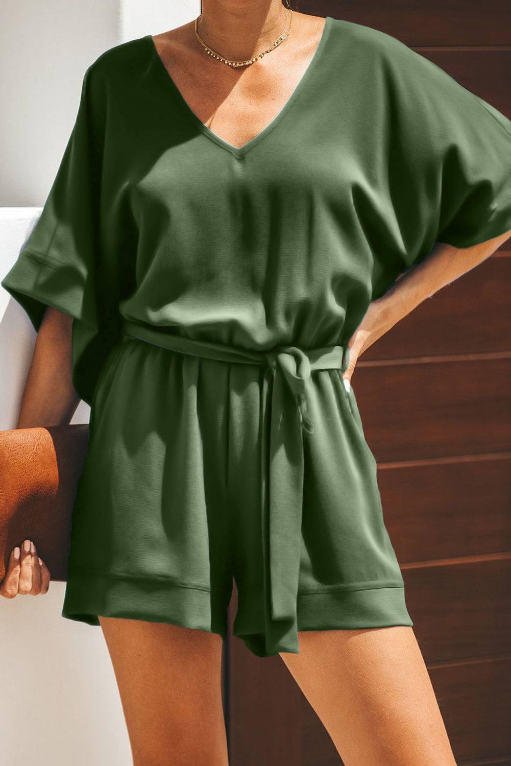 Dark Green Spring Scene Pocketed Tie Romper