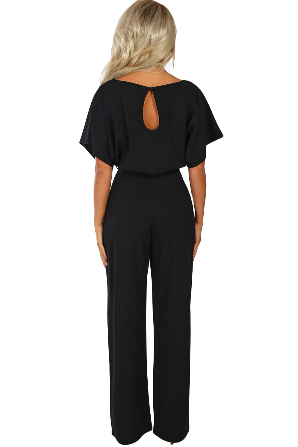 Black Oh So Glam Belted Wide Leg Jumpsuit