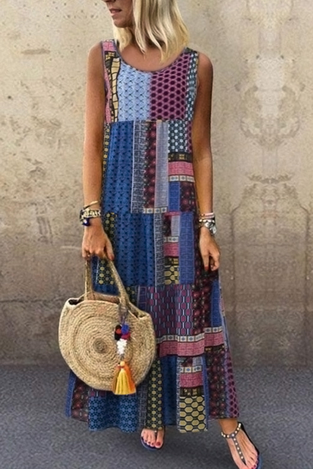 Blue Bohemian Splicing Round Neck Sleeveless Dress