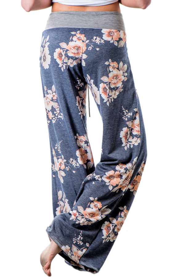 Deep Grey Floral Terry Wide Leg Pants