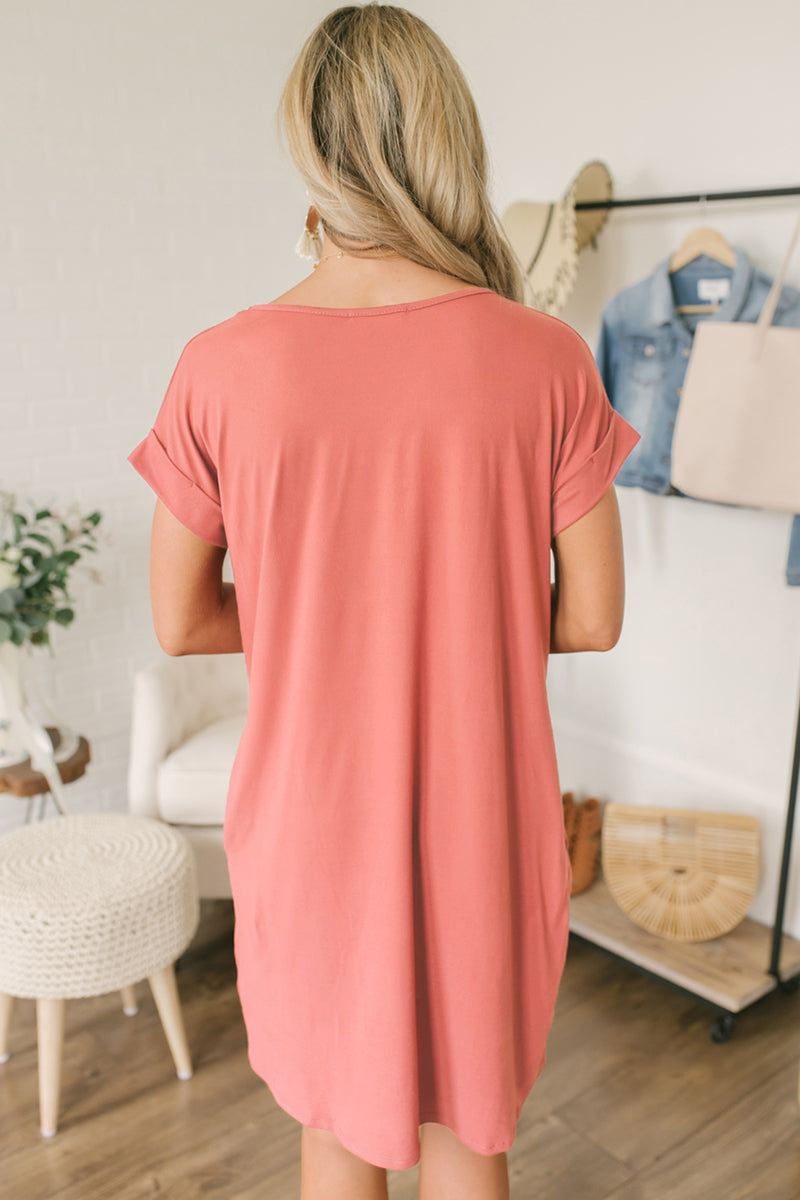 Pink V Neck Cuffed T-shirt Dress