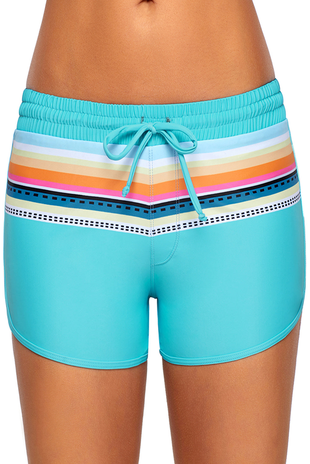 Striped Print Accent Light Blue Drawstring Board Shorts