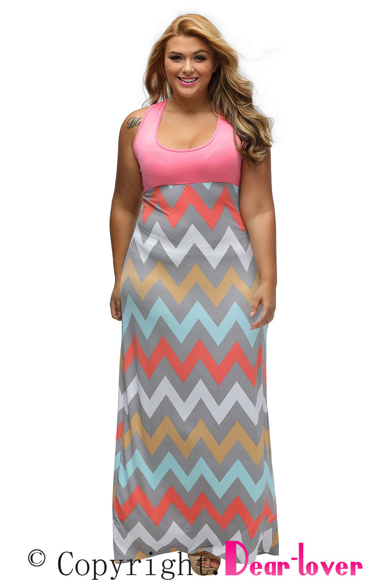 Plus Size Pink Top Multicolor Zigzag Maxi Dress