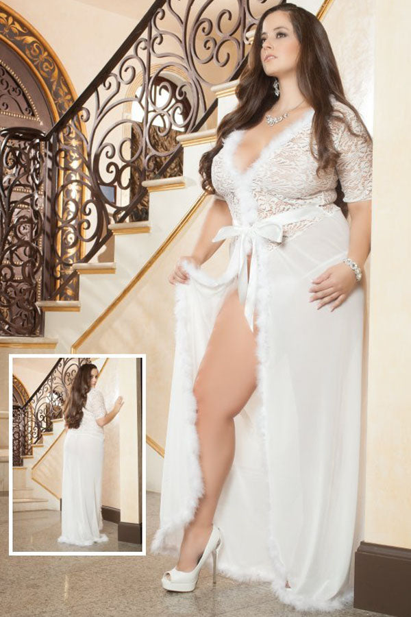 Plus Size Ivory Fur Trim Glam Night Robe
