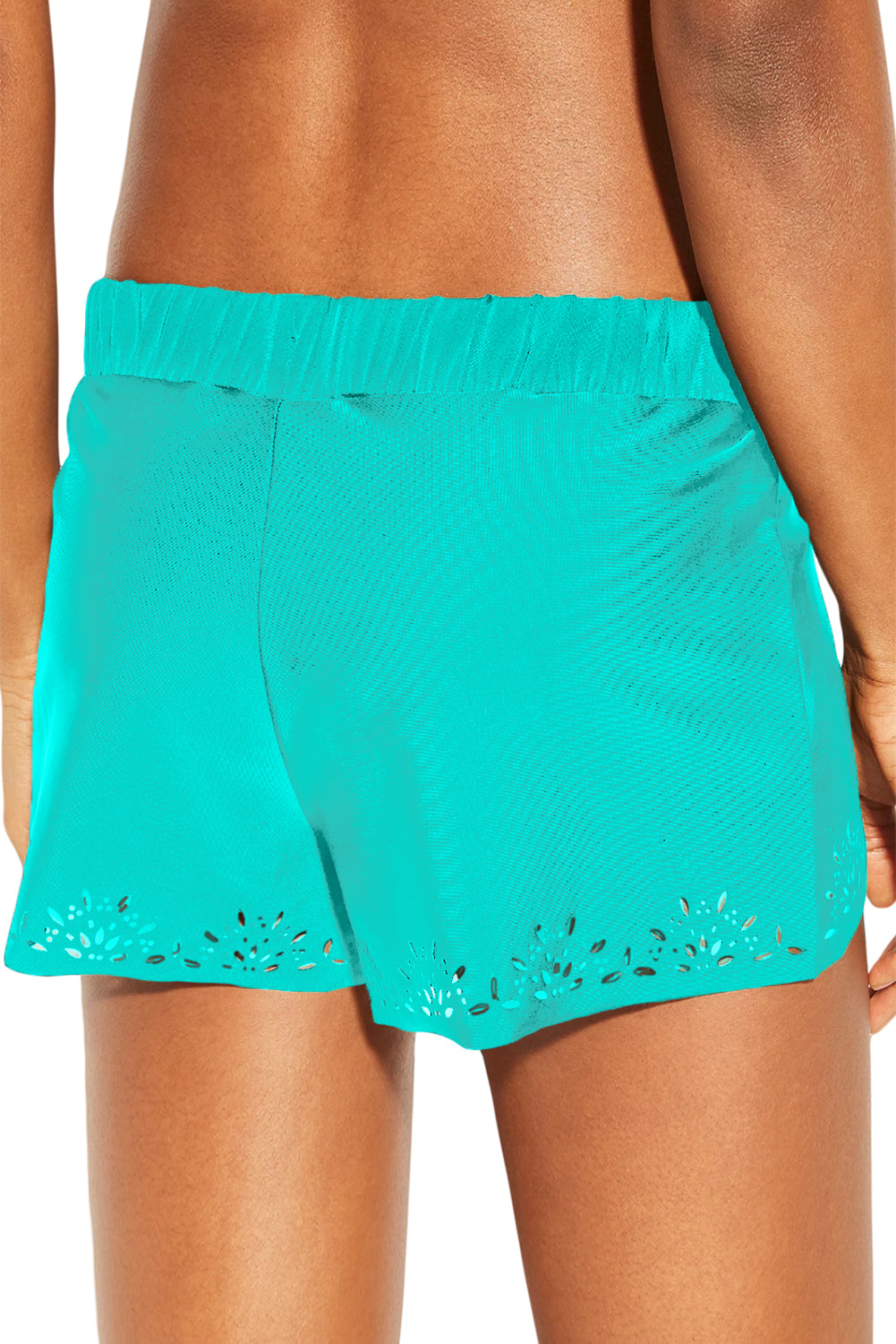 Sky Blue Laser Cut Swim Shorts