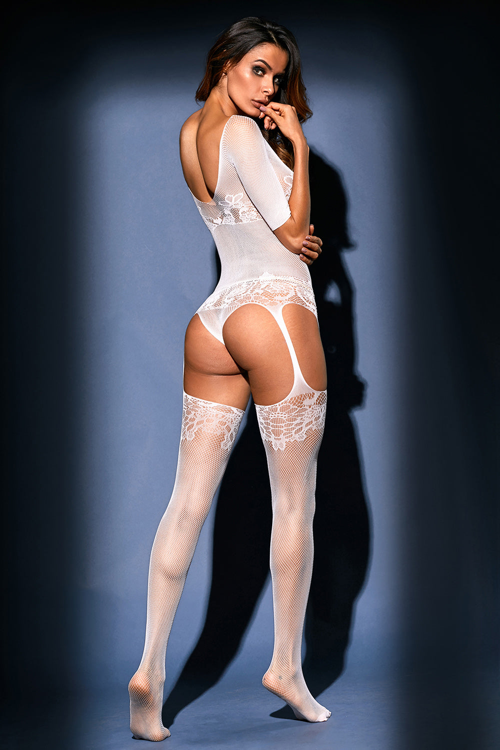 White Sheer Lace Mesh Teddy Garter Body Stocking