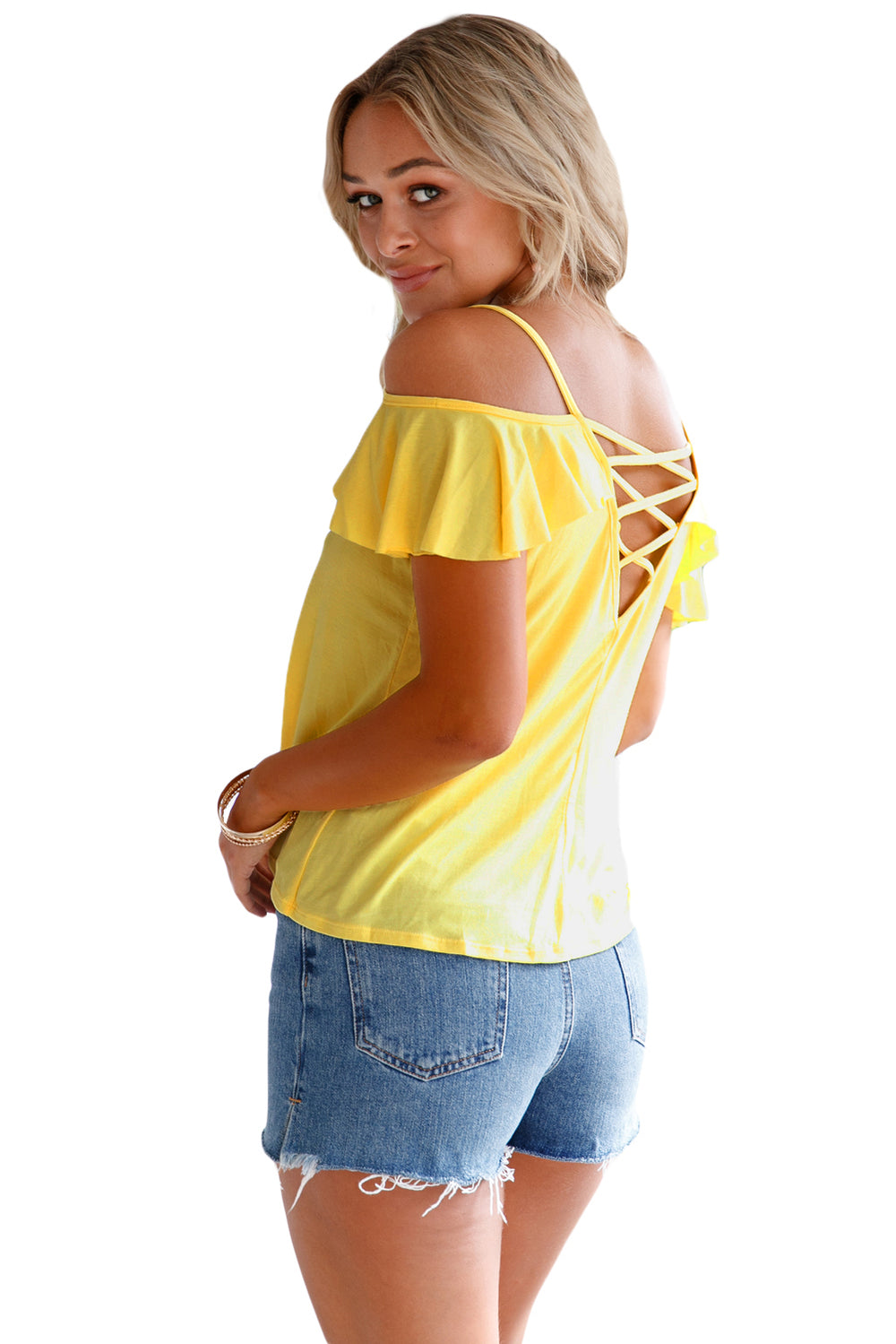 f4aa5c138c412 Yellow Crisscross Back Ruffle Cold Shoulder Top – FabWoo