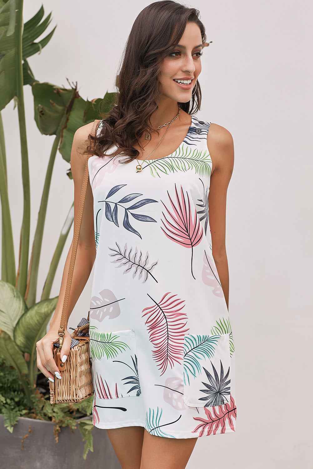 White Bohemian Printed Drawstring Sleeveless Dress