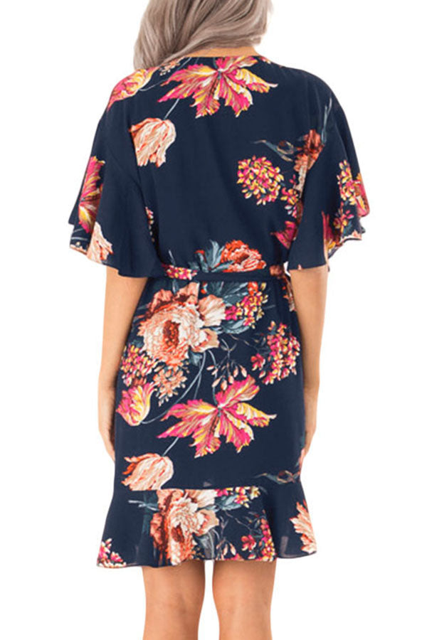 Blue Floral Print V Neck Wrap Dress with Ruffle Sleeves