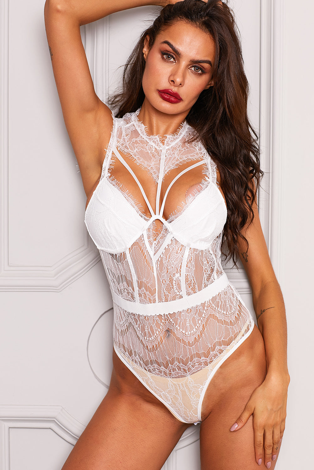 White Sheer Lace Strappy Bustier Bodysuit