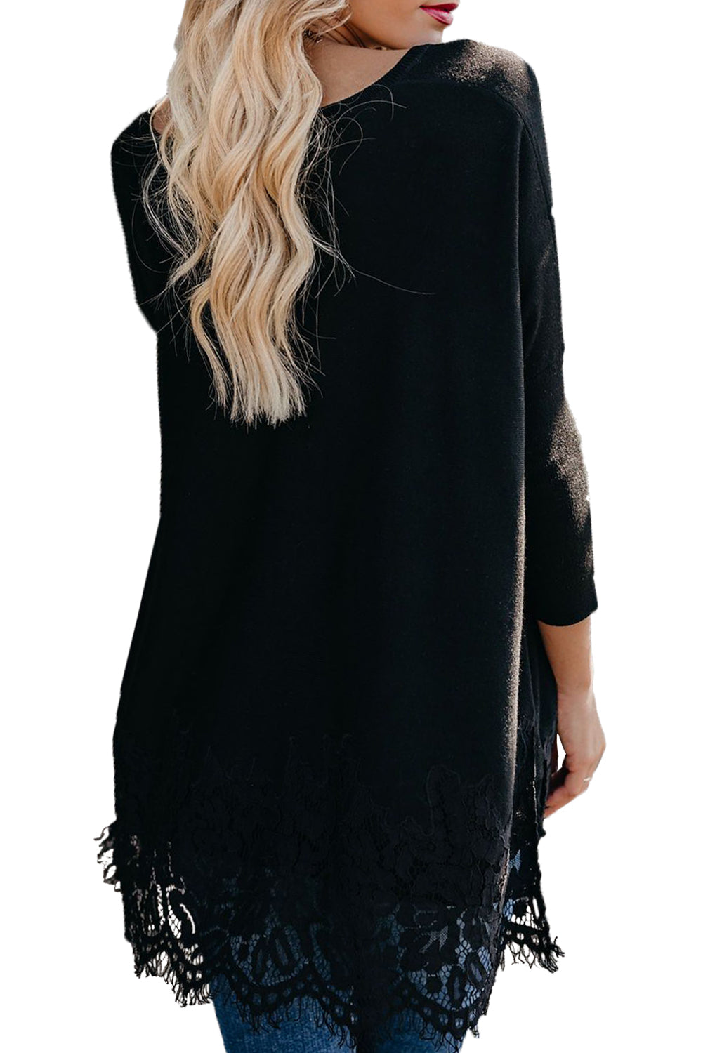 Black Waldorf Lace Contrast Sweater