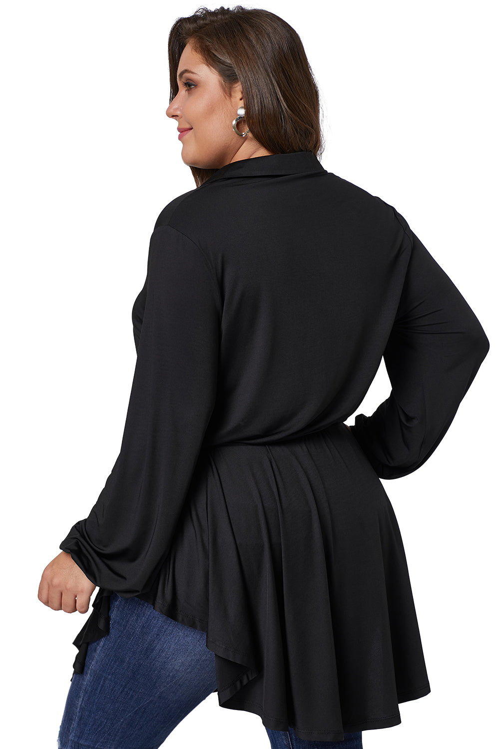 Solid Black Plus Size Tie Waist Top