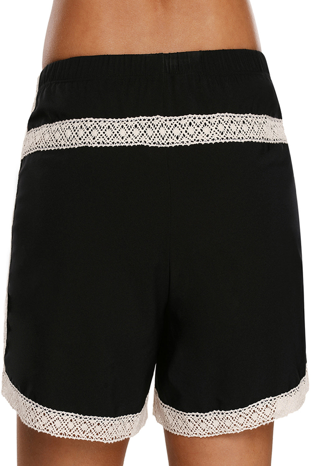 Lace Detail Black Drawstring Boardshort