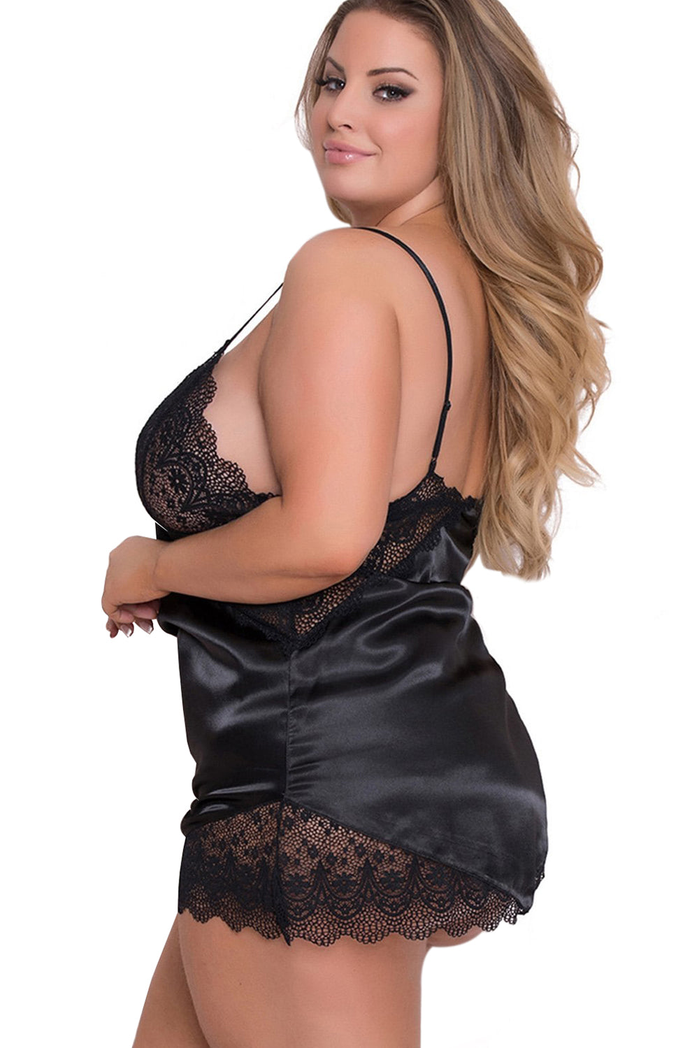 a750773d40d Black Lace Cups Silky Satin Plus Size Chemise – FabWoo