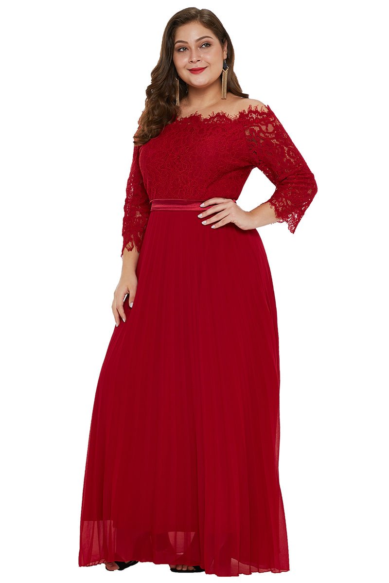 Red Lace Chiffon Plus Size Off Shoulder Maxi Dress – FabWoo