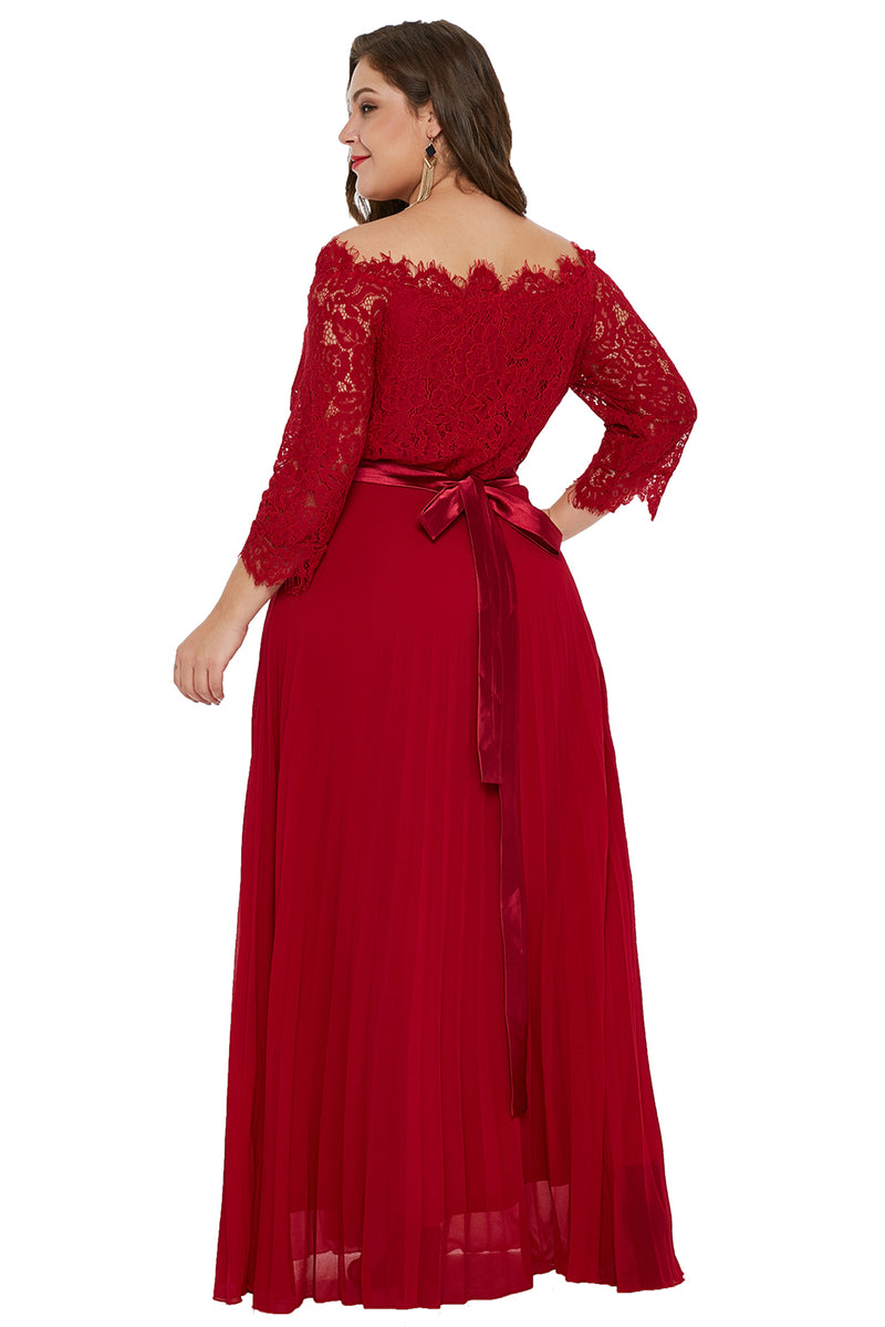 f87383b6e84c Red Lace Chiffon Plus Size Off Shoulder Maxi Dress – FabWoo