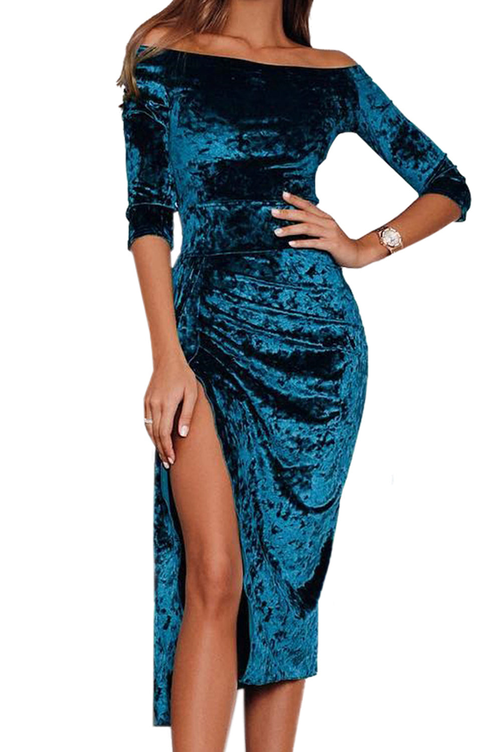 Blue Velvet Off Shoulder Ruched High Slit Dress