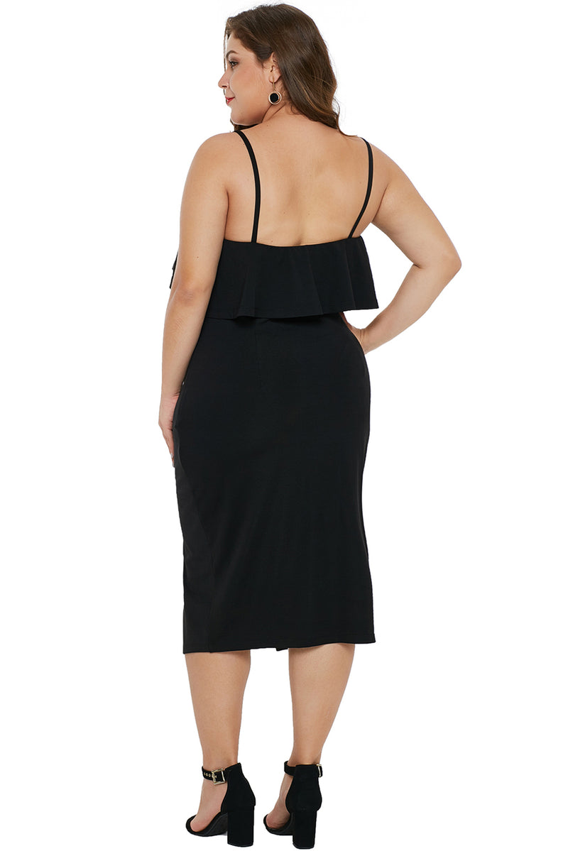 098454953bc12 Black Ruffle Overlay Slit Front Plus Size Dress – FabWoo