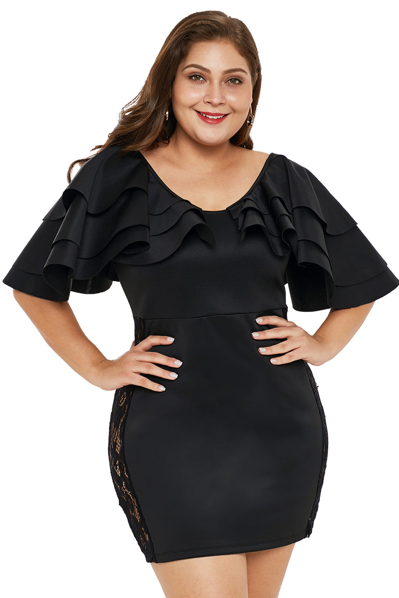 975b8a5c6de7d Black Cascading Shoulder Lace Insert Plus Size Dress – FabWoo