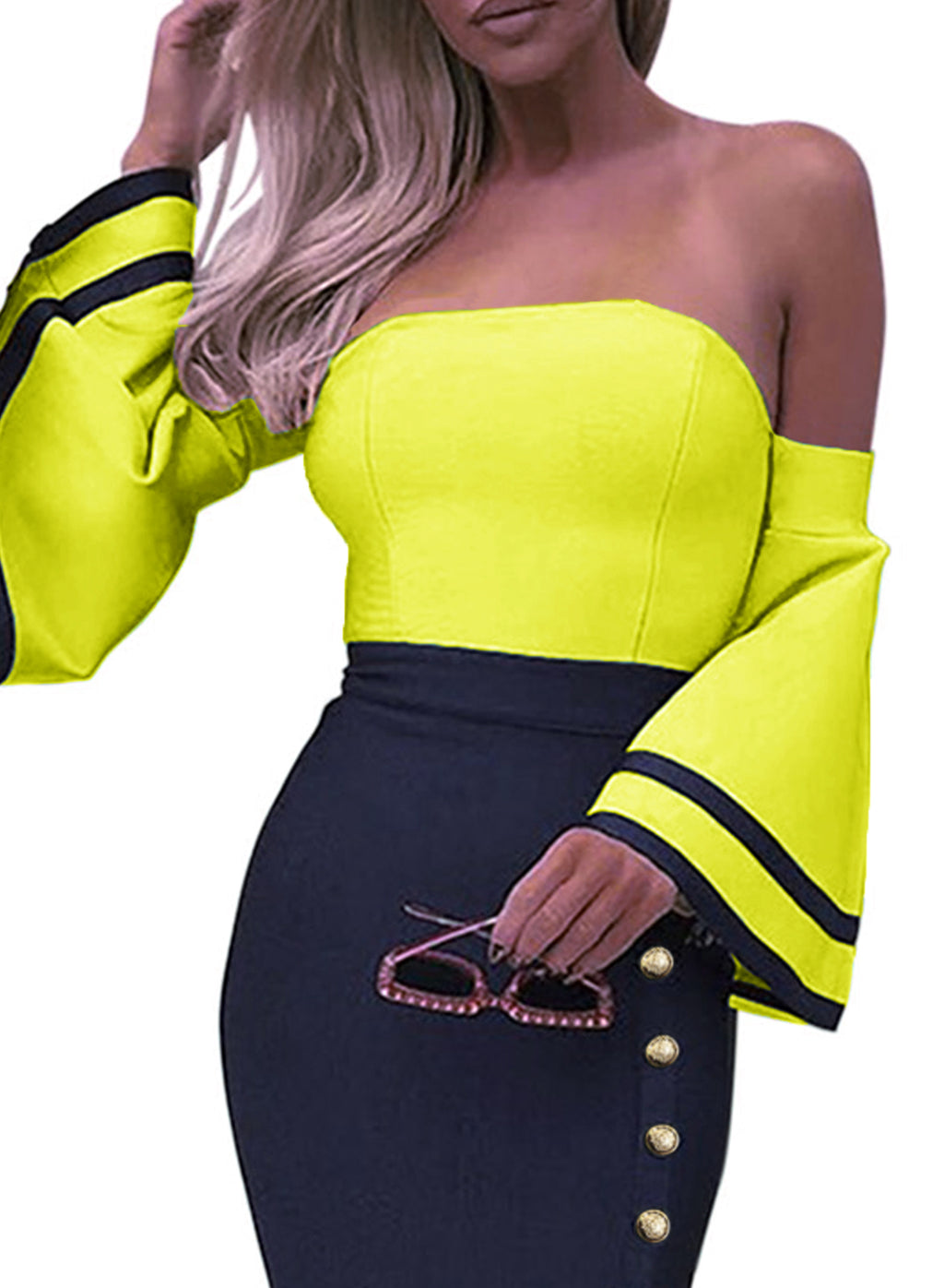 Yellow Flare Sleeve Button Bodycon Cocktail Party Dress