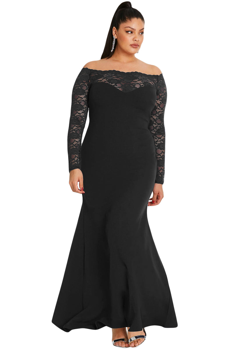 f39bb1ab2887e Black Lace Off-The-Shoulder Plus Size Maxi Dress – FabWoo