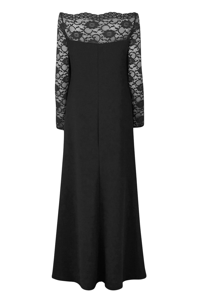 2d03877e05051 Black Lace Off-The-Shoulder Plus Size Maxi Dress – FabWoo
