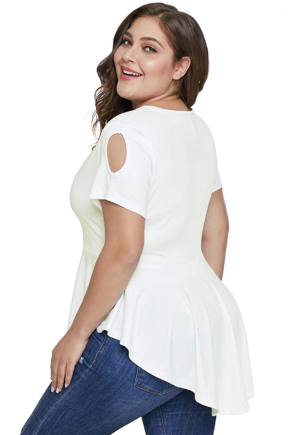 45d609710 White Cut out Plus Size Tunic – FabWoo