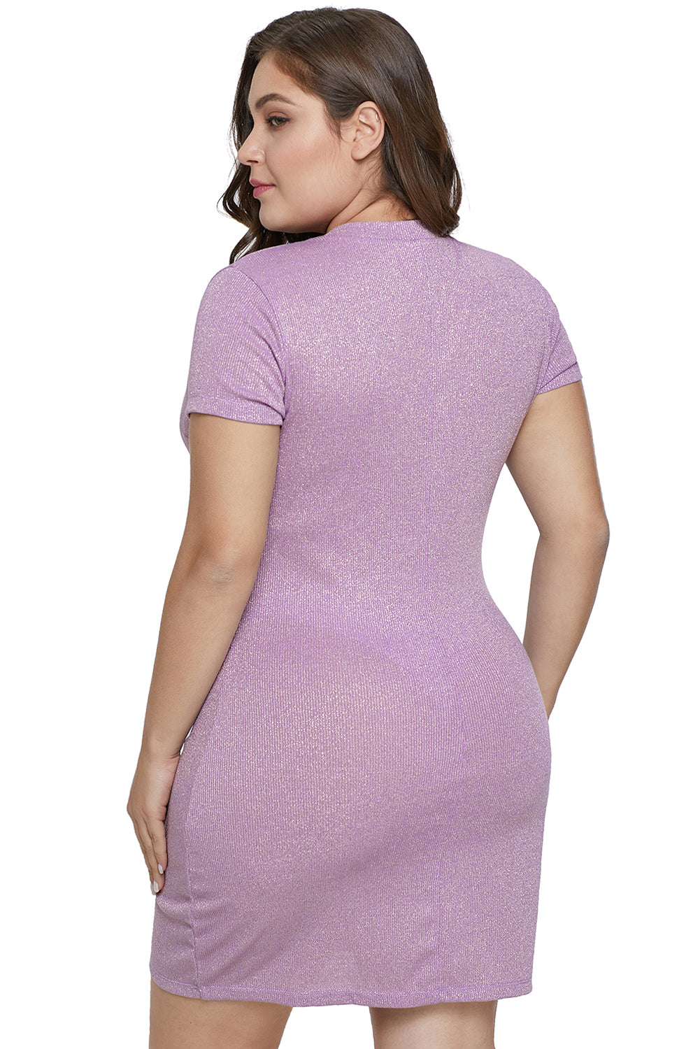 Purple Metallic Look Plus Size Dress