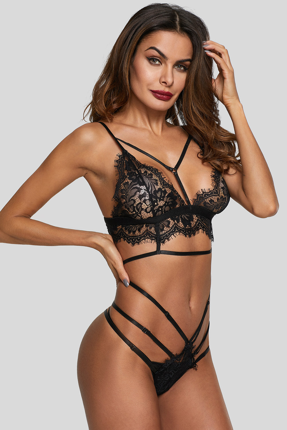 Black Lace Strappy See Through Lingerie Set