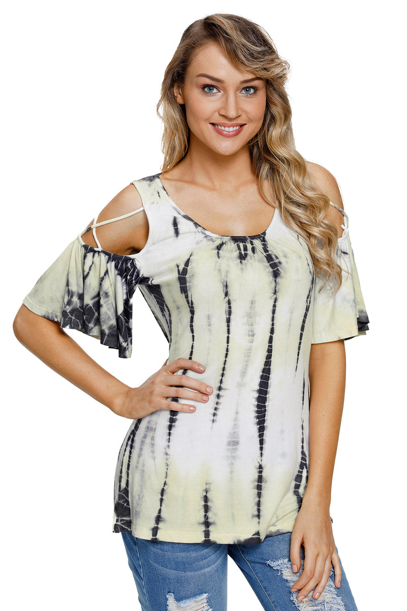 5154eb80b Yellow Tie Dye Print Crisscross Cold Shoulder Top – FabWoo