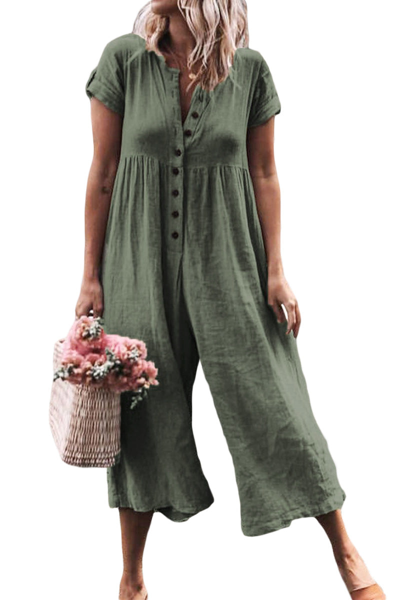 Green Solid Short Sleeve Casual Jumpsuit