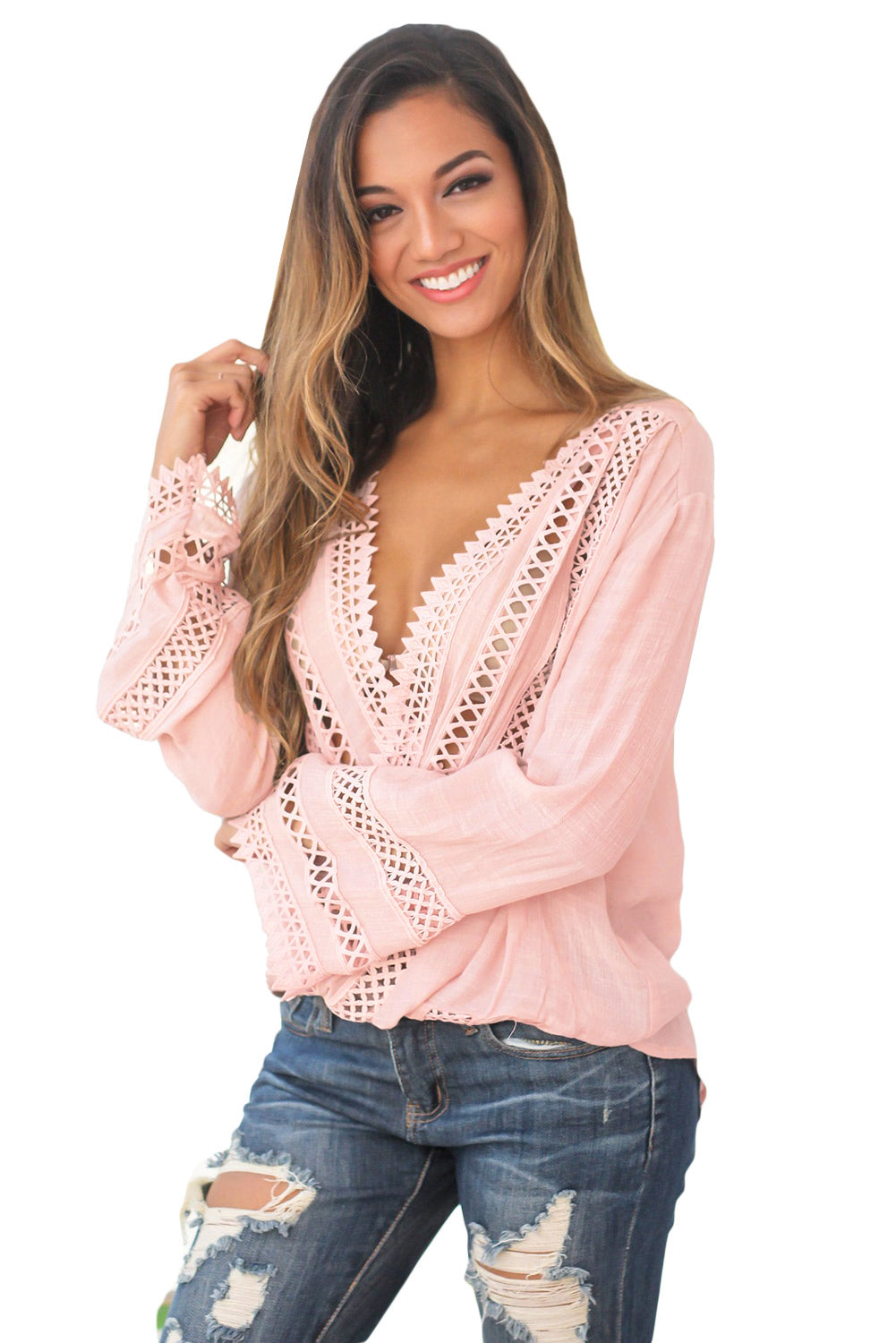 Pink Long Bell Sleeve Crotch V Neck Tunic Top