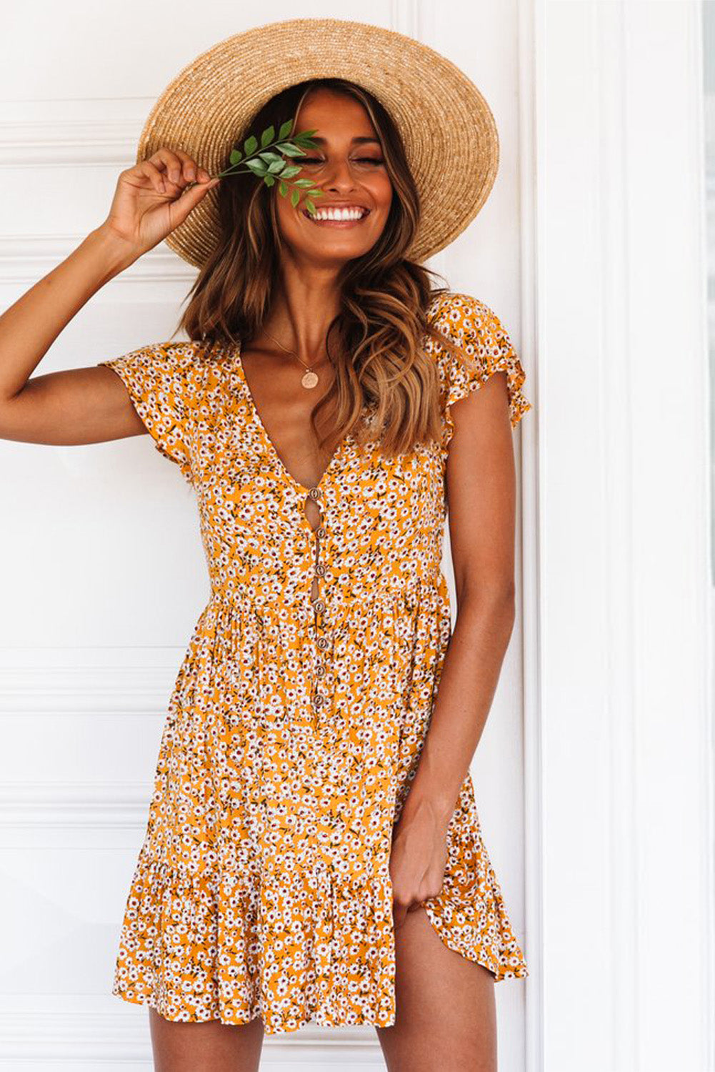 Yellow Floral Print Valentina Dress