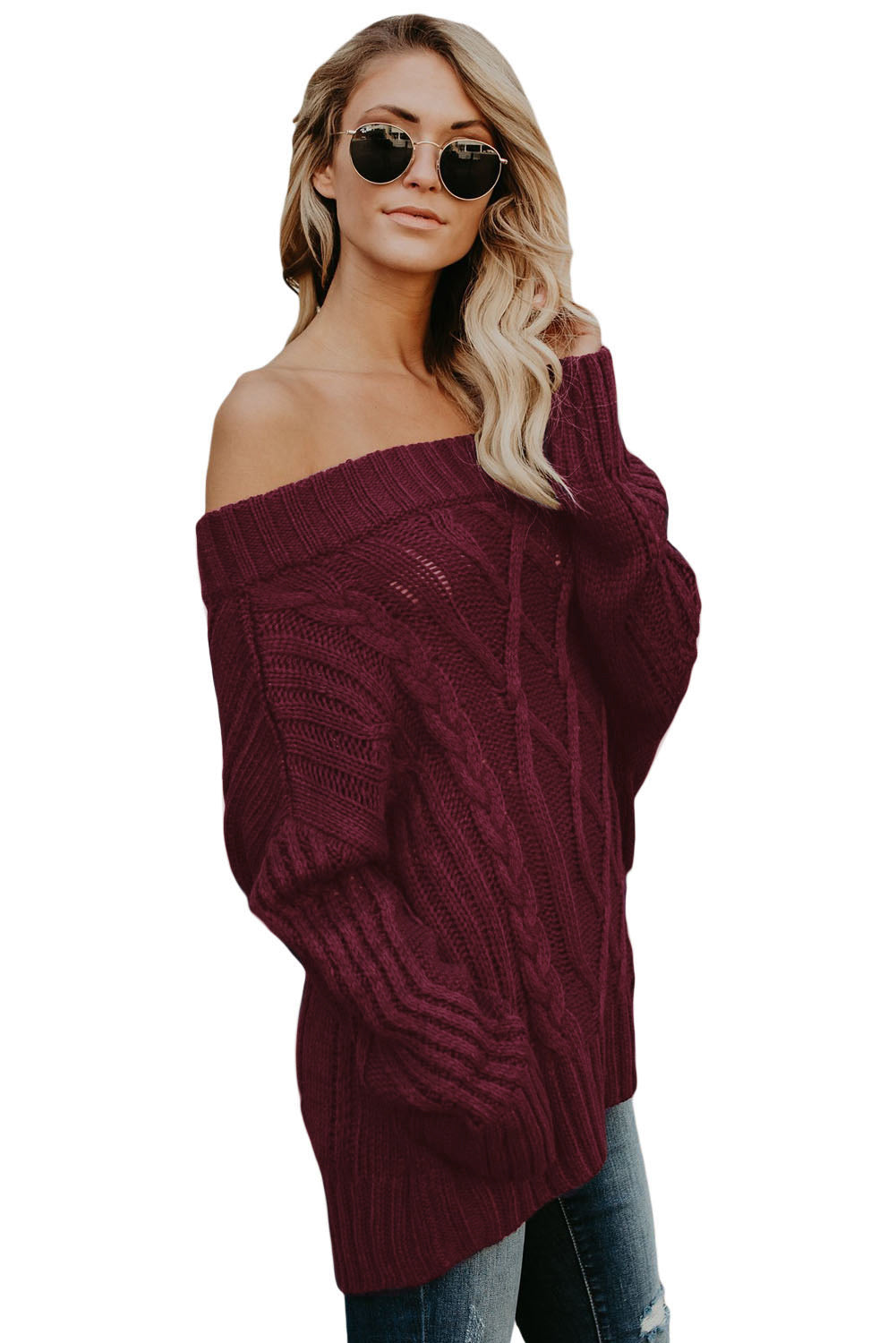 Wine Off The Shoulder Winter Sweater