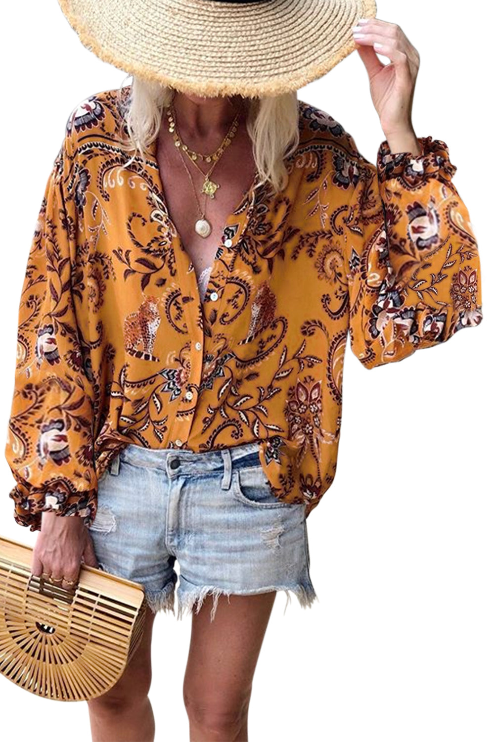 Orange Boho Button Down V Neck Floral Print Shirt