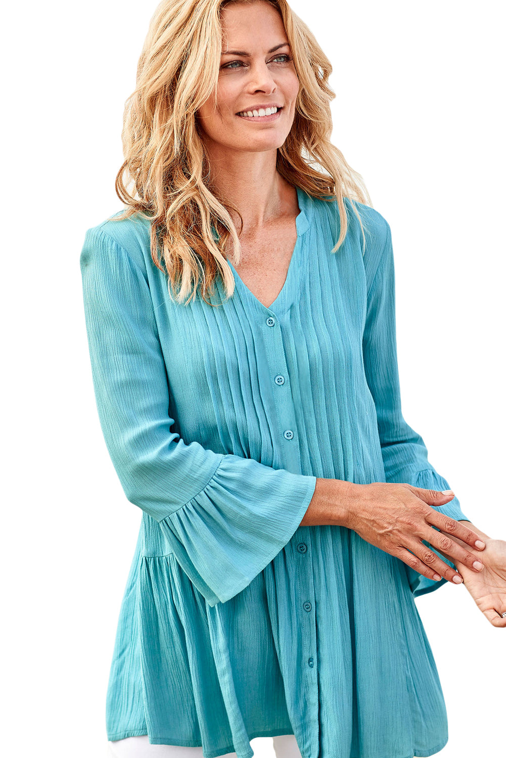 Sapphire Flounce Crinkle Button Down Tunic Top