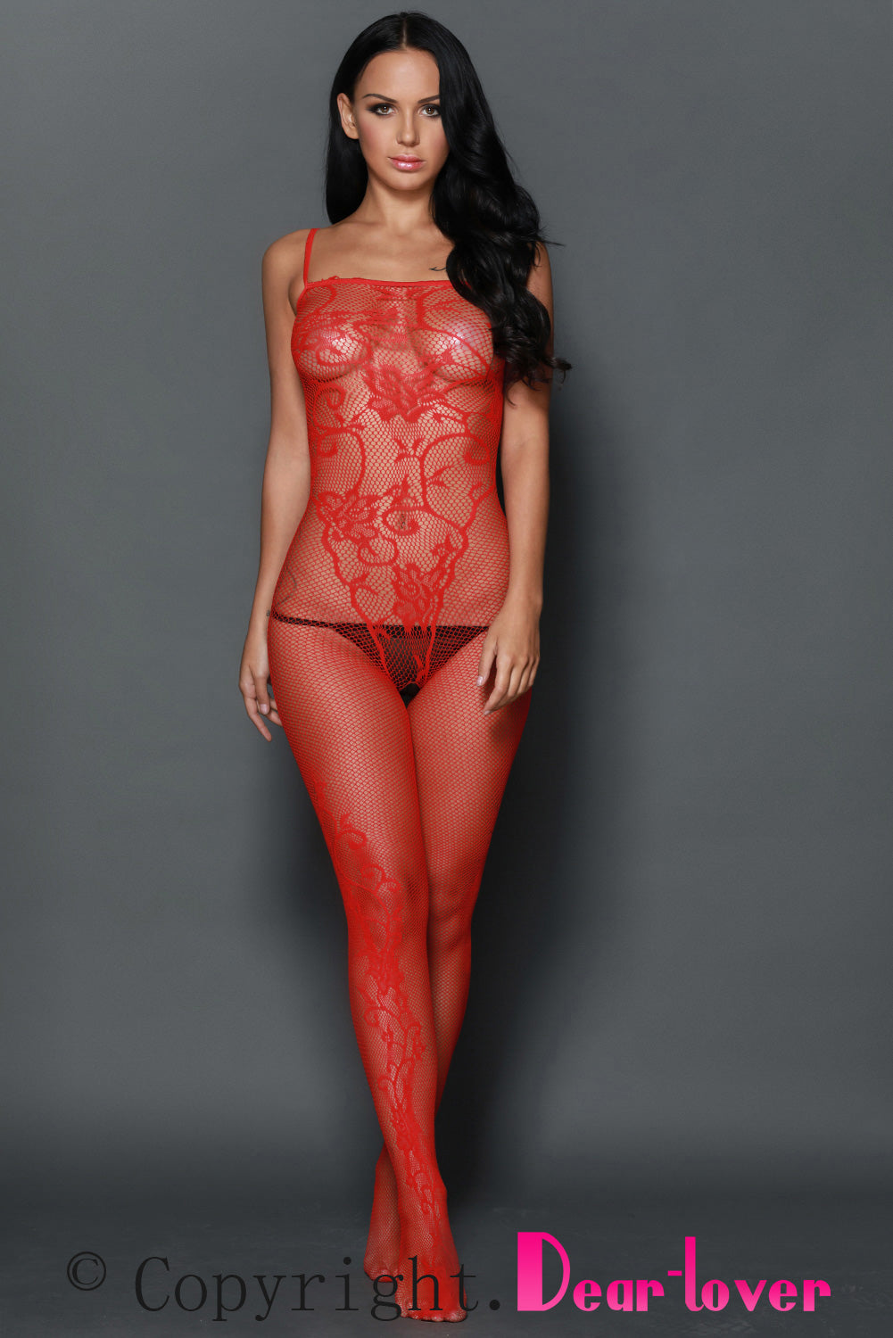 Red Sleeveless Floral Tattoo Body Stocking