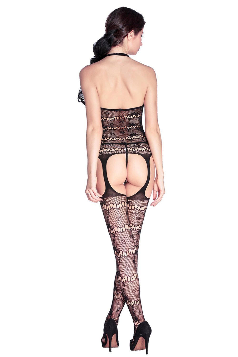Seamless Halter Suspender Bodystocking