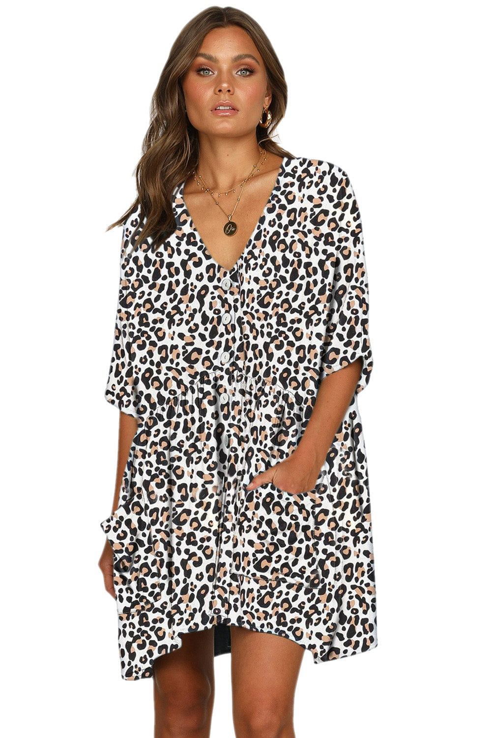 White Leopard Print V Neck Button Half Sleeves Swing Dress