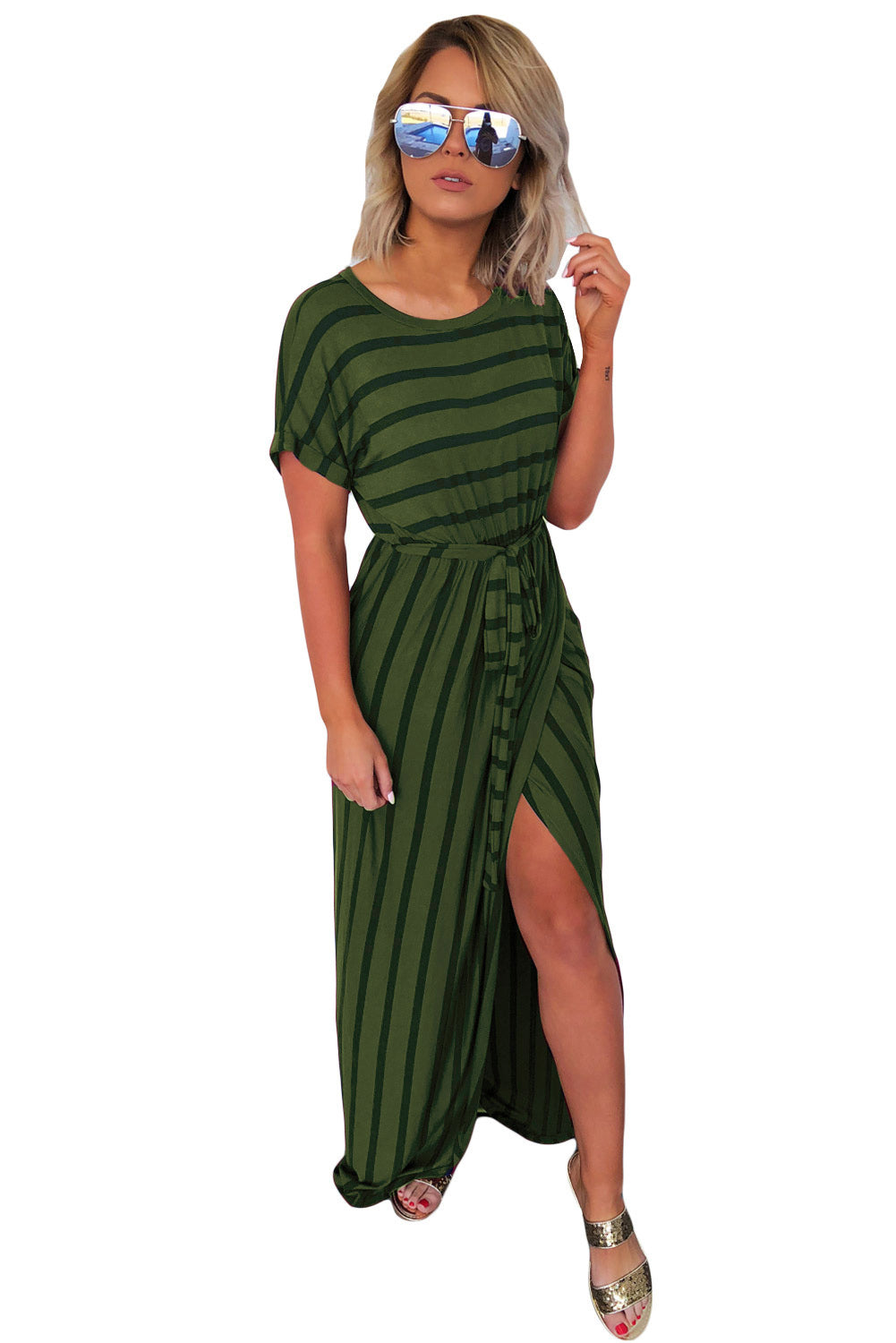 Green Striped Drape Slit Maxi Dress with Belt