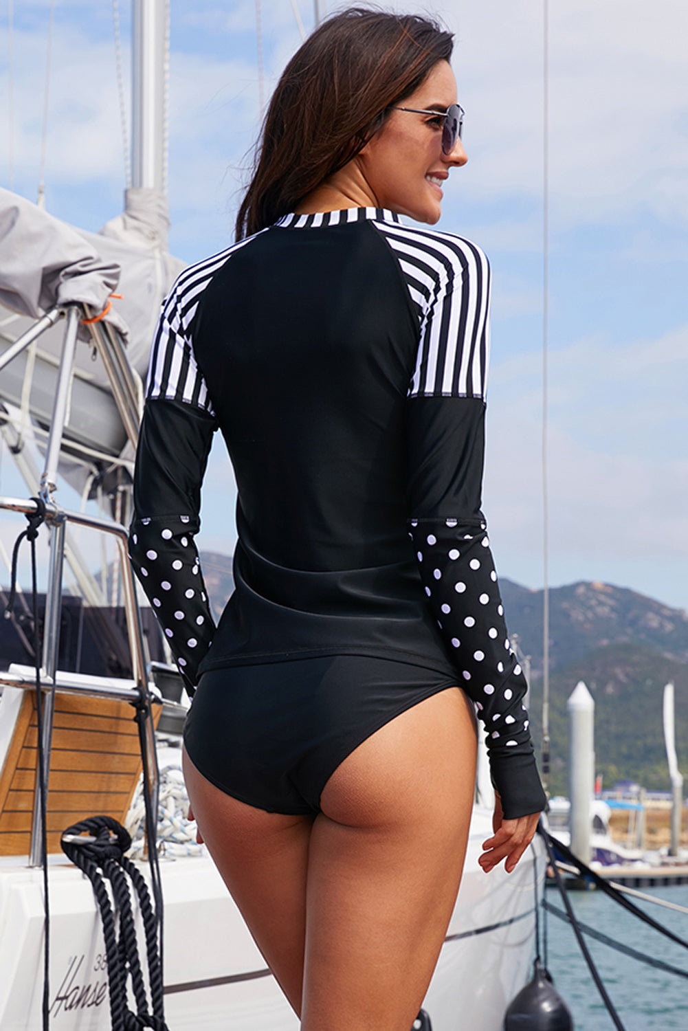 Black Striped and Polka Dot Detail Rashguard Top