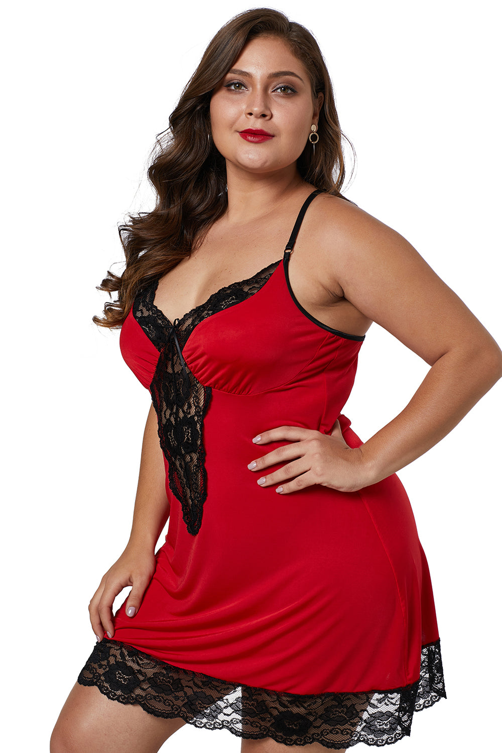 5d5dd0e23fa Red Venecia Chemise with Lace Trim – FabWoo