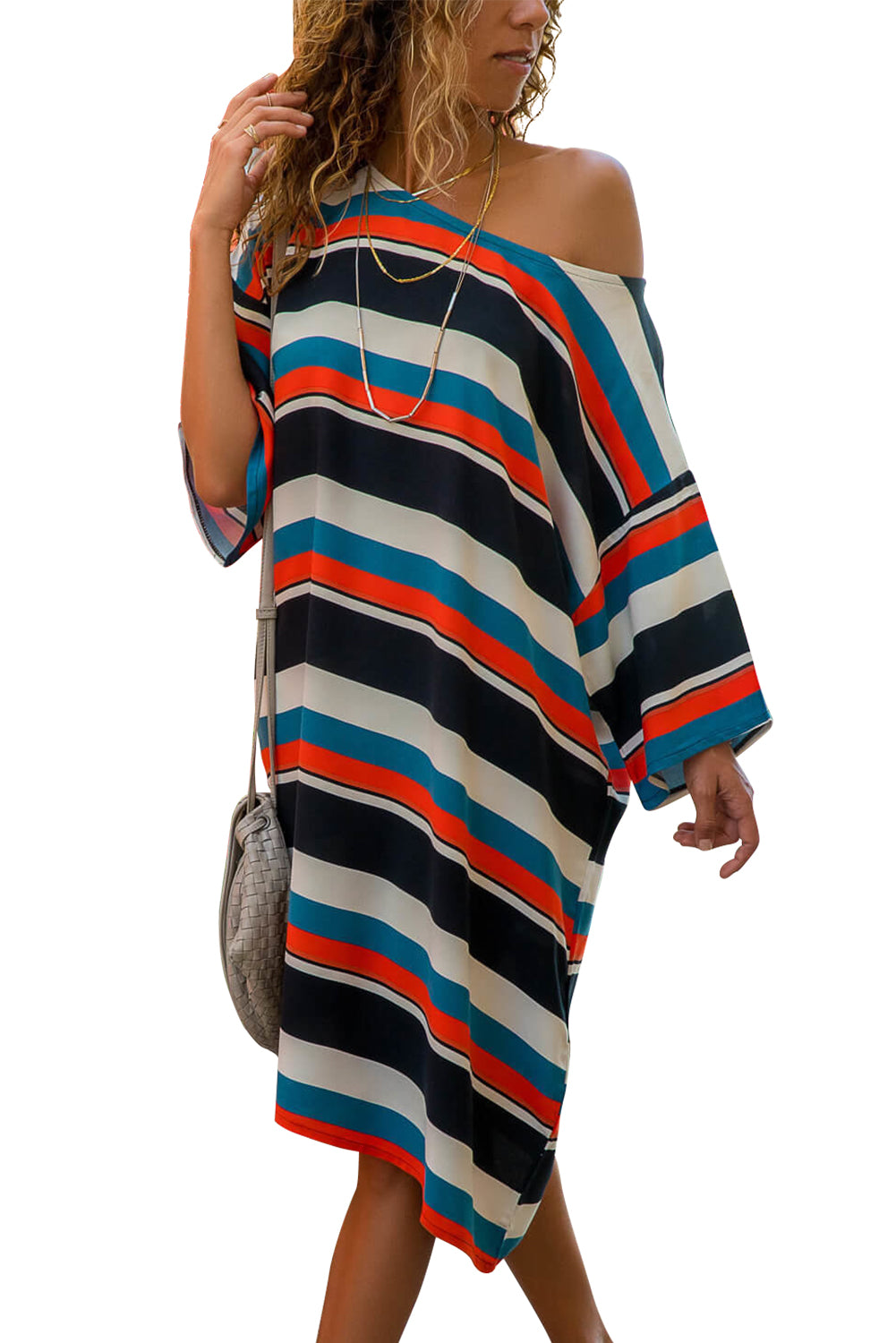 Black Striped Pattern Loose T-shirt Dress