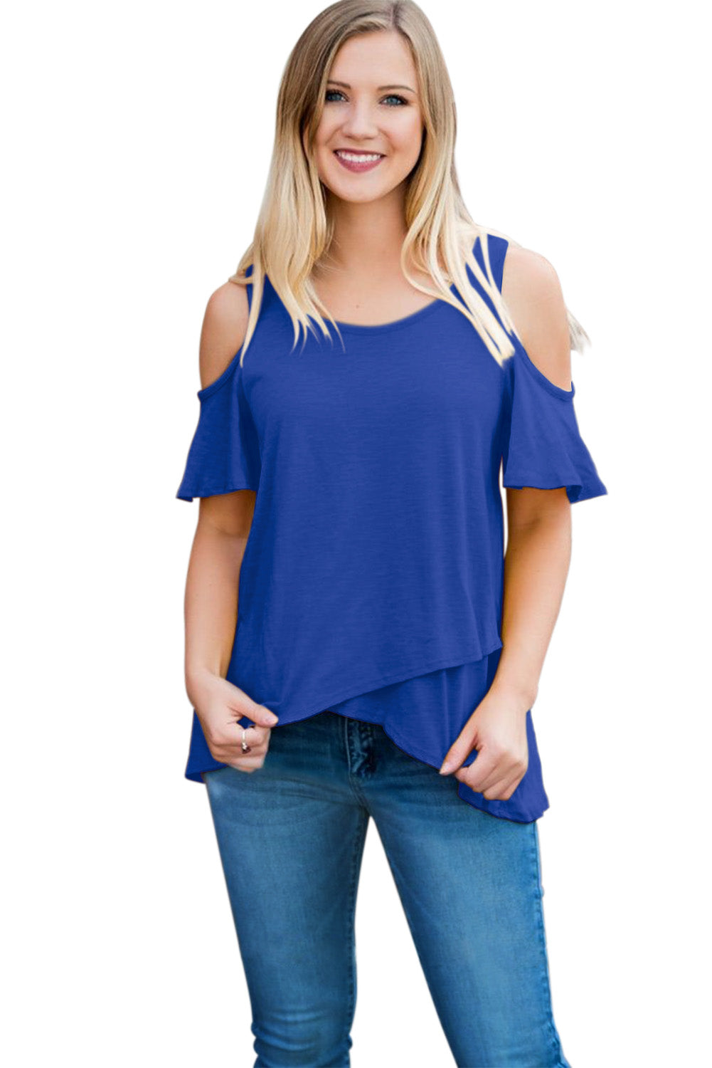 Blue Cold Shoulder High Low Top
