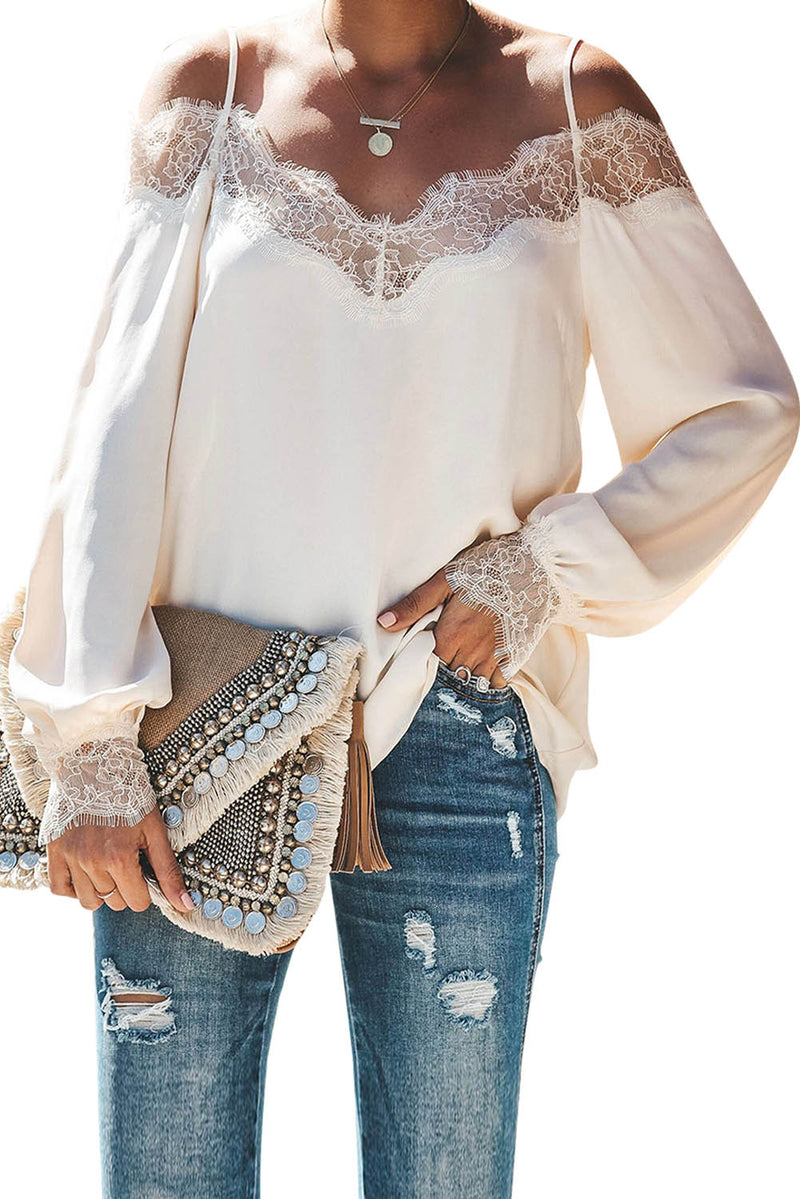 White Trixie Lace Cold Shoulder Blouse