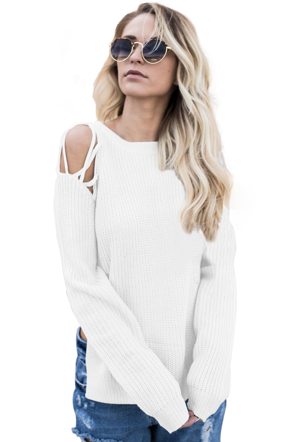 White Lace up Shoulder Sweater