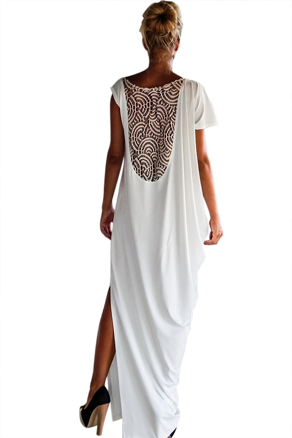 White Crochet Lace Back Oversized Kaftan Dress