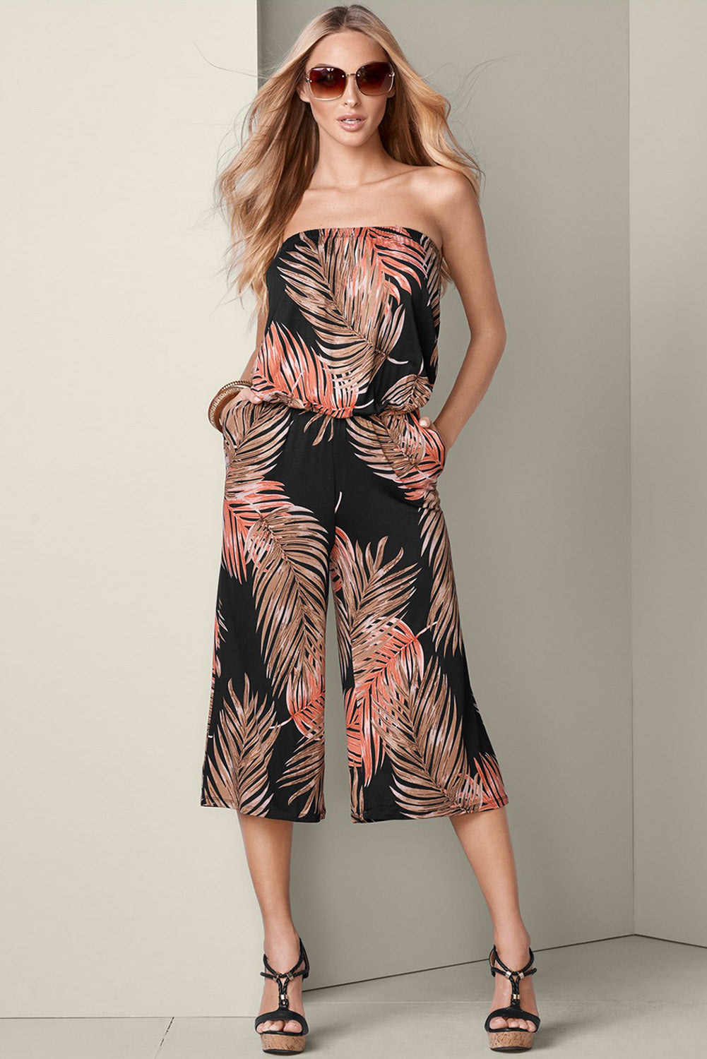 Black Flower Print Bandeau Bodice Wide Leg Jumpsuit