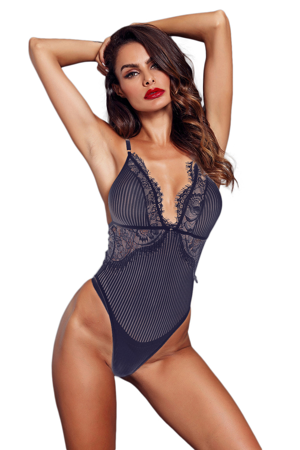02f8637f6 Blue Striped Mesh Bodysuit – FabWoo